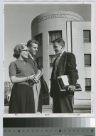 Unidentified students, Clark Building in background, Rochester Institute of Technology