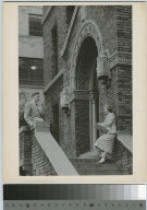 Unidentified students, Bevier Building entrance, Rochester Institute of Technology