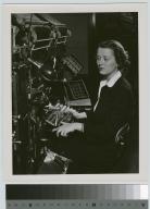 Miss Ruth Leach operates a linotype machine, Rochester Athenaeum and Mechanics Institute