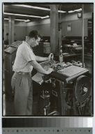 Student operates machinery, Department of Publishing and Printing, Rochester Institute of Technology