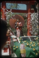 """Spring Weekend, parade float in the theme of """"Mood Oriental,"""" Rochester Institute of Technology, 1958"""