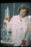 Chemistry student at work in laboratory, Rochester Institute of Technology, Department of Chemistry, 1965