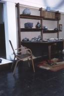 Ceramic dishware and wooden furniture