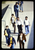 Students walking Quarter Mile