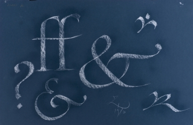 Calligraphic teaching sheet, lowercase letters