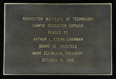 Campus dedication capsule plaque