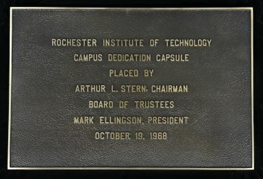 Campus dedication capsule plaque