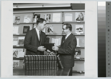 Congressman Barber Conable and Library Director Thomas Strader at downtown campus library, Rochester Institute of Technology