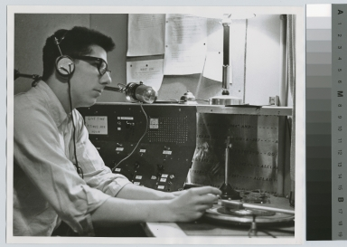 Student in W.I.T.R. radio station, Rochester Institute of Technology