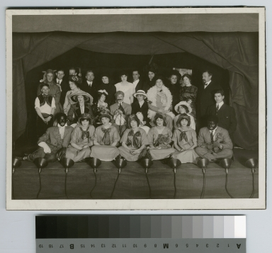 Student activities group portrait of a vaudeville performance by the Dramatics Club of the Rochester Athenaeum and Mechanics Institute, Department of Applied and Fine arts, 1914