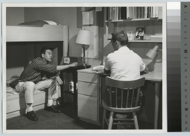 Student activities, two male students in a typical room at Nathaniel Rochester Hall