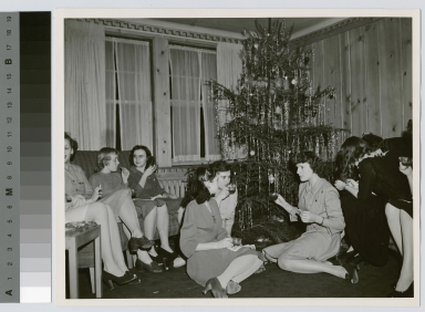 Student Activities, Christmas party in the lounge of Kate Gleason Hall. Rochester Institute of Technology. Downtown Campus.