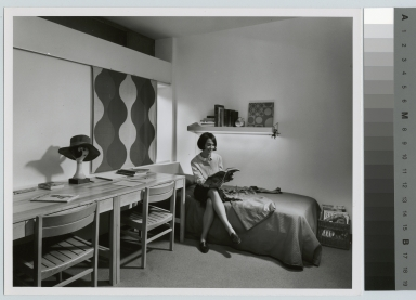 Student activities, female student in a dorm room at Rochester Institute of Technology. Henrietta Campus