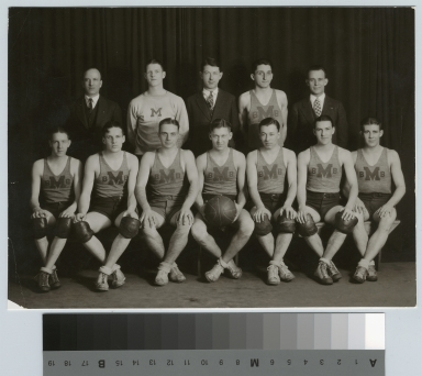 Student activities group portrait of the Rochester Athenaeum and Mechanics Institute basketball team with their coaches.