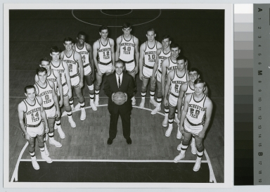Student activities, group portrait of the Rochester Institute of Technology basketball team with coach Lou Alexander