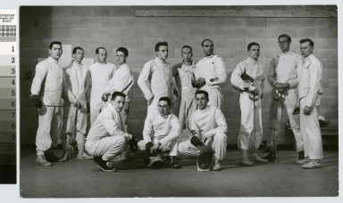 Student activities, group portrait of the RIT men's fencing team. 1956