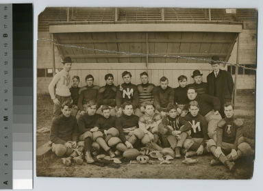 Student activities, group portrait of the Rochester Athenaeum and Mechanics Institute football team