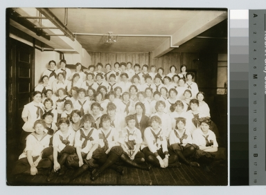 Student activities, group portrait of the Rochester Athenaeum and Mechanics Institute girls gym class, circa 1916