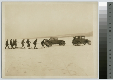 Student activities, Rochester Athenaeum and Mechanics Institute students skating and skiing on Conesus Lake, [1911-1912]