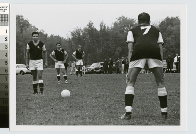Student activities, Rochester Institute of Technology men's soccer players on the field, [1950-1968]