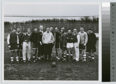 Student activities group portrait of the Rochester Institute of Technology alumni men's soccer team with their coach Jim Dickie, [1950-1968]