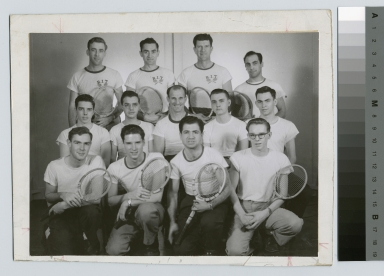 Student activities, group portrait of the Rochester Institute of Technology men's tennis team with their coach William Topocer, [1950-1968]