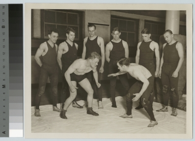 Student activities, group portrait of the first Rochester Athenaeum and Mechanics Institute wrestling team, 1928