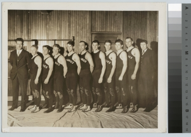 Student activities, group portrait of the first Rochester Athenaeum and Mechanics Institute wrestling team with their coach Mark Ellingson, 1928