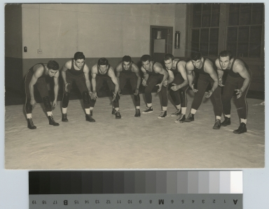 Student activities, group portrait of the Rochester Institute of Technology wrestling team, [1945-1960]
