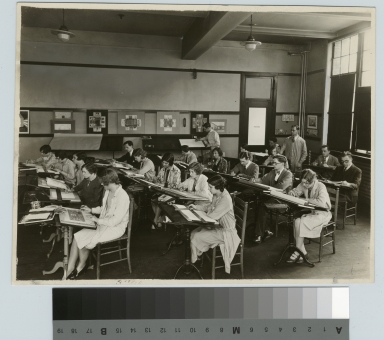 Academics, Rochester Athenaeum and Mechanics Institute design class with instructor Charles Horn, [1920-1930]