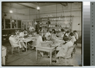 Instructor and unidentified students, basket making class, Department of Applied and Fine Arts, Rochester Athenaeum and Mechanics Institute