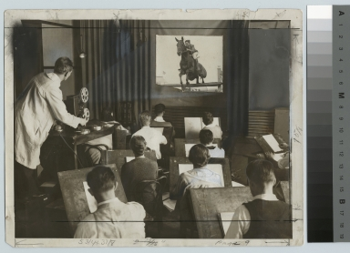 Academics, art and design, Rochester Athenaeum and Mechanics Institute drawing class sketching from a motion picture, Sept. 1930