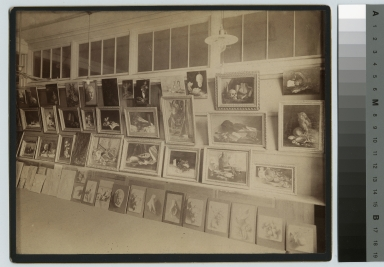 Academics, art and design, interior view of an exhibition of student painting, [1900-1910]