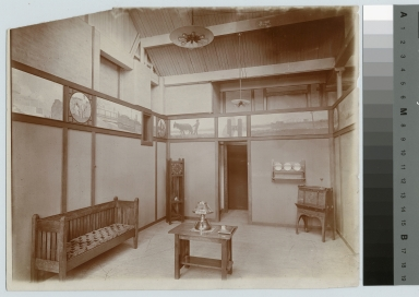 Academics, art and design, interior view of an exhibition of student work in the arts and crafts manner. [1900-1920]