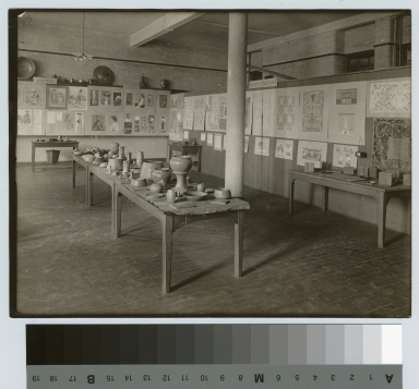 Academics, art and design, interior view of an exhibition of student work, [1900-1920]