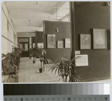 Academics, art and design. Interior view of an exhibition of student work, 1912