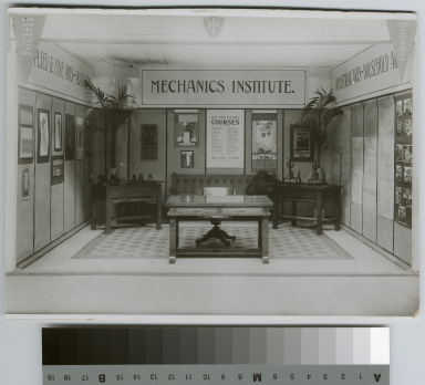 Academics, art and design. Interior view of an exhibition of student work, [1912]