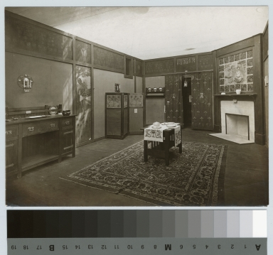 Academics, art and design. Interior view of an exhibition of arts and crafts furnishings, [1903-1907]