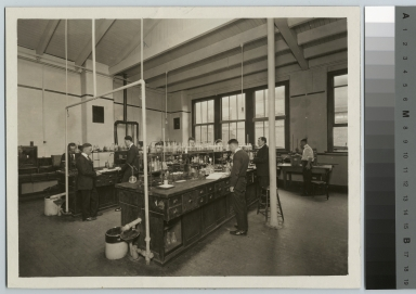 Academics, chemistry, Rochester Athenaeum and Mechanics Institute chemistry laboratory with male students working on experiments, [1920-1930]