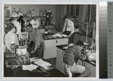 Academics, Chemistry, Rochester Institute of Technology students working on experiments in a chemistry lab, [1959-1962]