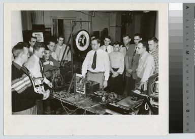 Students and instructor with electrical equipment, Electrical Department, Rochester Institute of Technology [1950-1960]