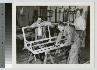 Students planing furniture, the School for American Craftsmen, Rochester Institute of Technology [1950-1960]