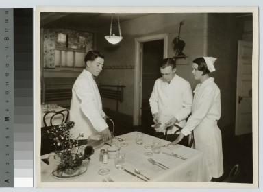 Table setting instruction, Eastman Building, Rochester Athenaeum and Mechanics Institute, [1920-1930]