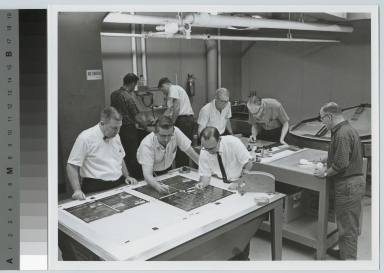 Technicians at work in the Graphic Arts Research Department, Rochester Institute of Technology [1950-1959]