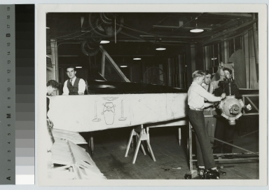 Students work on an airplane engine, School of Industrial Arts, Rochester Athenaeum and Mechanics Institute