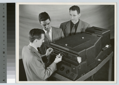 Students and instructor with developing equipment, Department of Photographic Technology, Rochester Institute of Technology