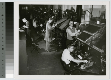 Students operating linotype machines, Department of Publishing and Printing, Rochester Institute of Technology