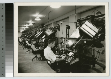 Students at typesetting machines, Department of Publishing and Printing, Rochester Institute of Technology