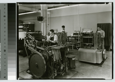 Students working with printing machinery, Department of Publishing and Printing, Rochester Institute of Technology