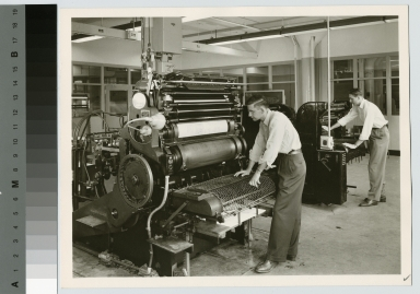 Students with offset printing presses, Department of Publishing and Printing, Rochester Institute of Technology